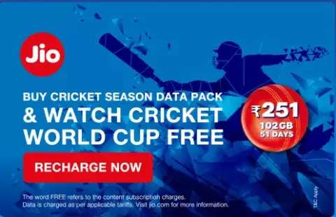 Jio launches new offer on the special occasion of Cricket World Cup
