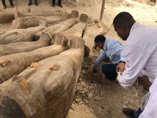 Archaeologists have discovered 20 ancient coffins in the Egyptian city of Luxor