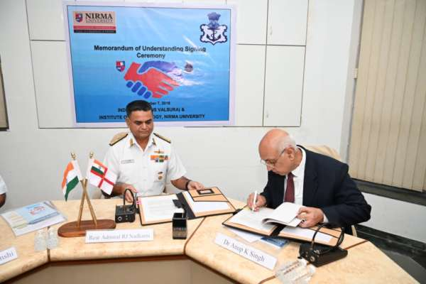 MoU between INS Valsura and Nirma University - Connect