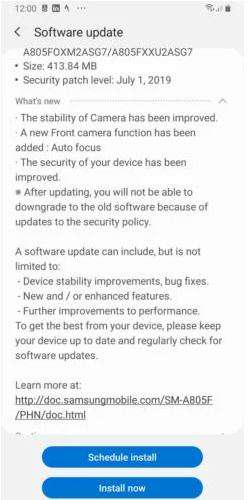 Samsung Galaxy A80's new software update brings autofocus